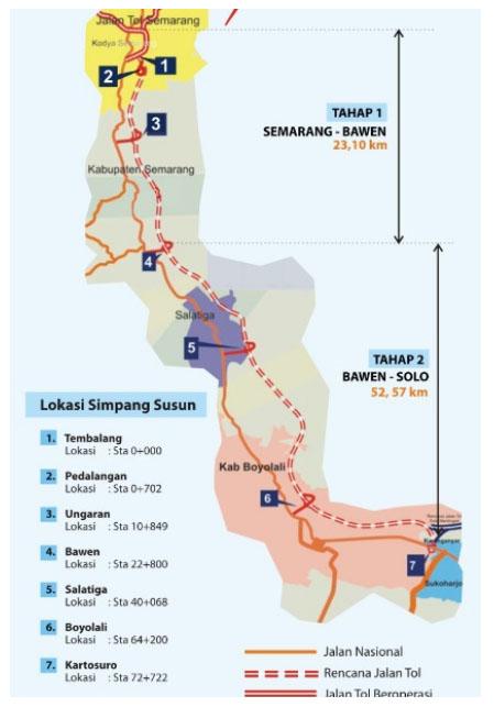 Peta jalan tol Semarang Solo